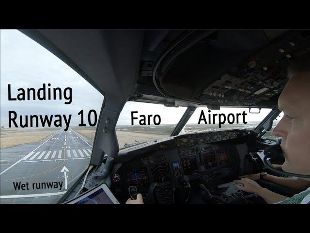 Landing runway 10 on wet runway Faro Airport (FAO LPFR).