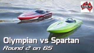 Thunder Tiger Olympian vs Traxxas Spartan Running 6S on Calm Water