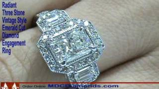 es242 three stone radiant diamond vintage pave halo engagement ring by mdc diamonds ny