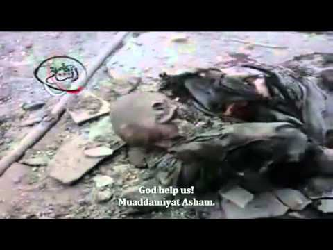 SNN | Syria | Damascus Rural | Bodies Strewn About After Shelling Attack | Jan 8, 2013  18+ ONLY