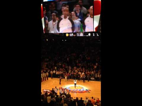 Joie sings the National Anthem NY Knicks
