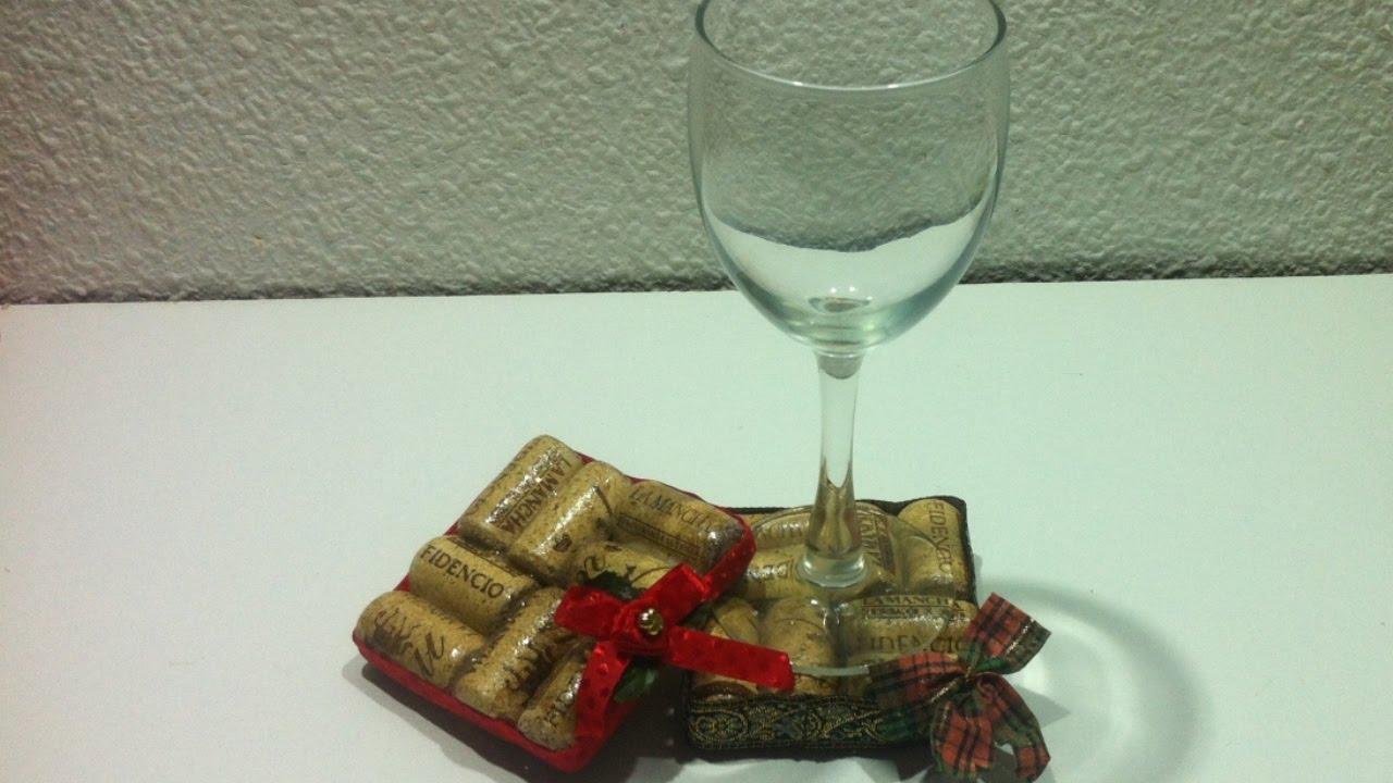 Manualidades navidad posavasos con tapones de corcho - Manualidades con tapones de plastico ...