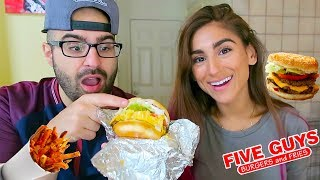 FIRST TIME TRYING FIVE GUYS BURGERS MUKBANG & STORY TIME!