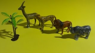 little  plastic  surprise toys: lion, elephant, animal kingdom, african animals, animaiss mamiferos