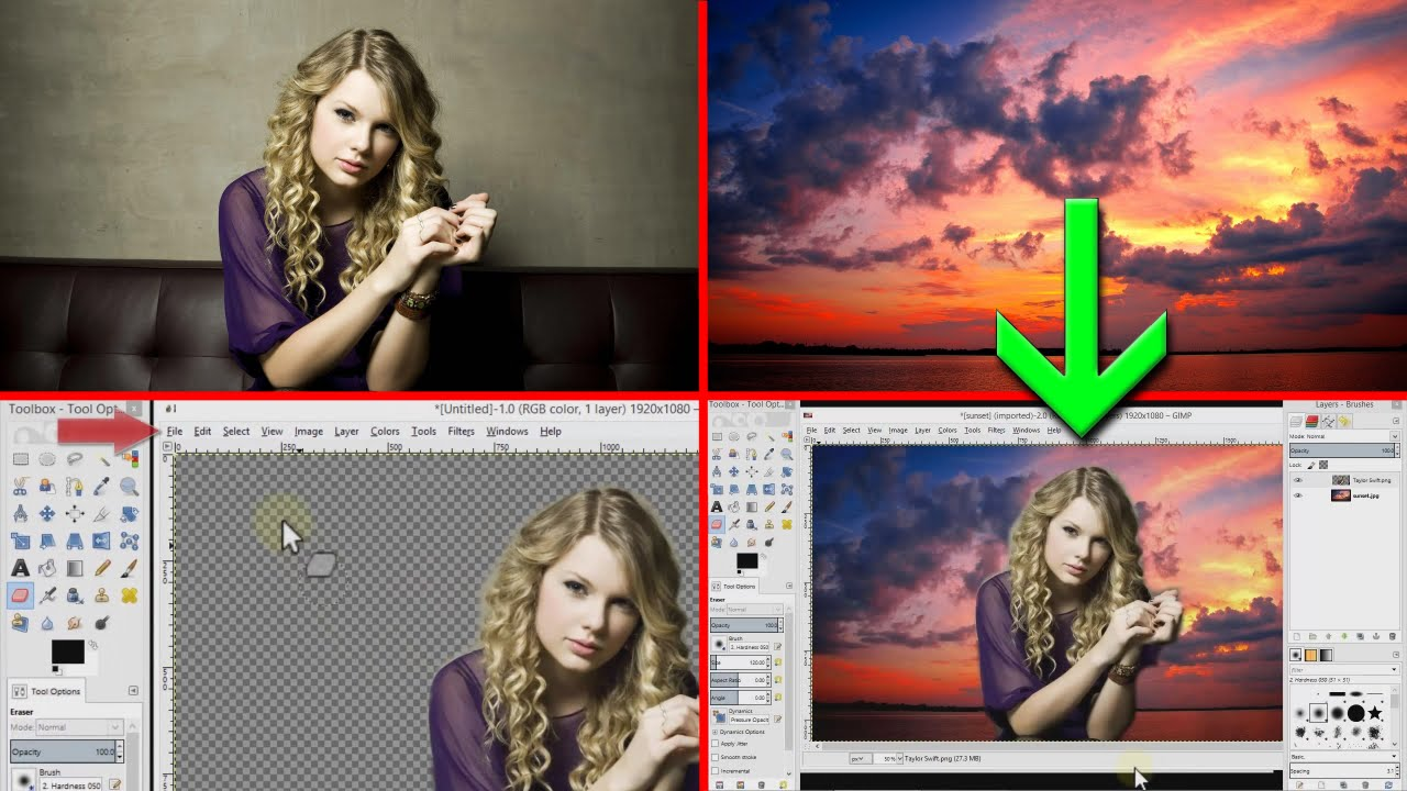 Gimp tutorial - How to combine / blend two pictures ...