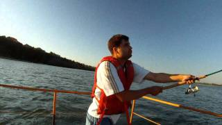 Fishing in Siberia. On the river Ob. Below hydroelectric power station. Novosibirsk