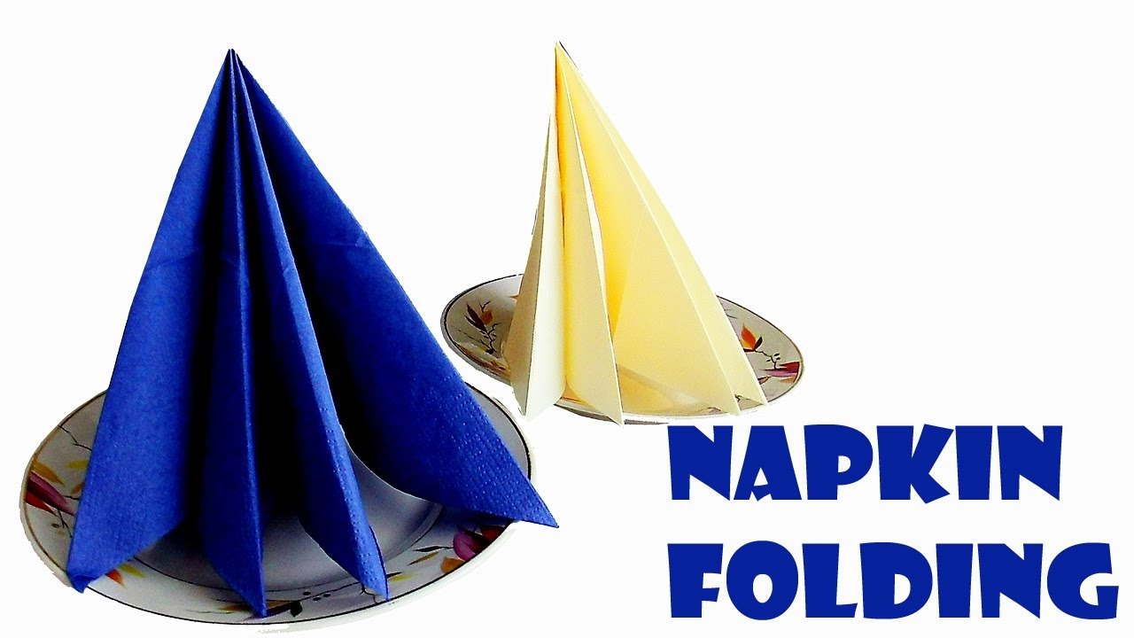 Napkin folding instructions for the pyramid napkin fold - How To Fold A Napkin Pyramid Napkin Folding Tutorial