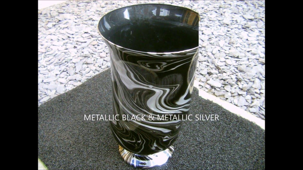 Swirlinggorgeous metallic black silver glass vase youtube floridaeventfo Choice Image