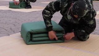 Quilt-folding contest for newly recruited soldiers in Tianjin, China