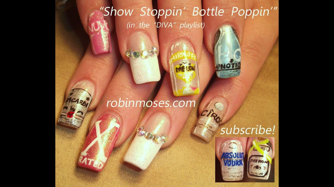 PARTY NAILS Liquor Bottles designs 21st Birthday Nail Art