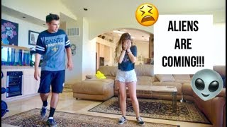 END OF THE WORLD PRANK ON BOYFRIEND! (Alien Invasion! And his dad came home)