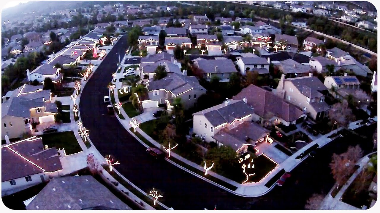 Drone Flies Over Neighborhood Christmas Lights - YouTube
