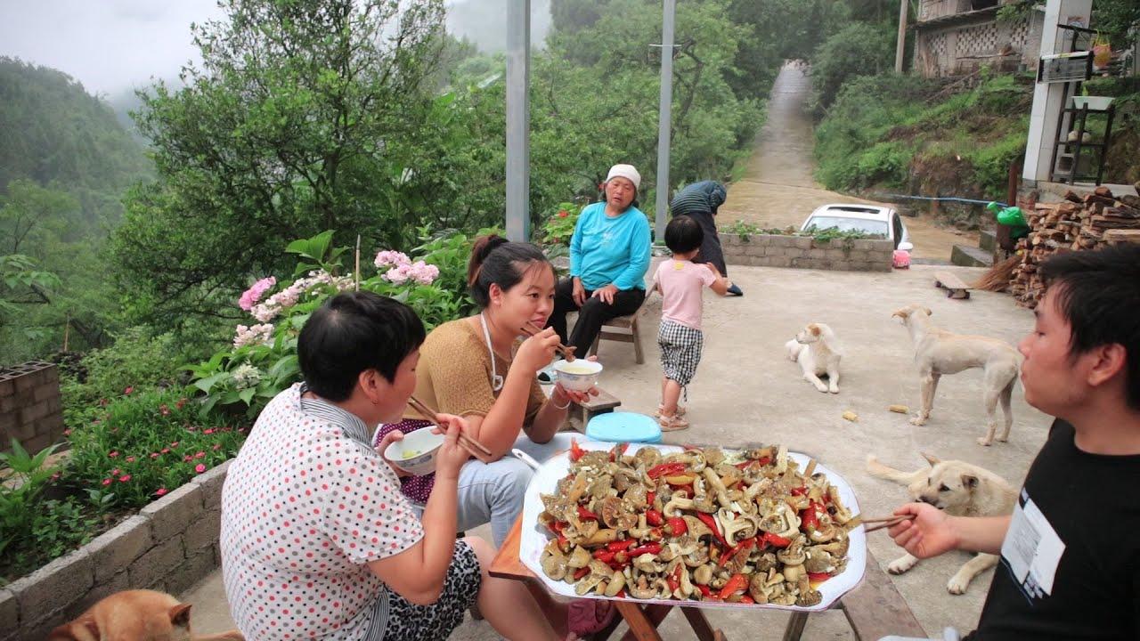 媳婦炒一盤酸辣野生菌,一家人邊吃飯邊聊家常,農家小院好溫馨