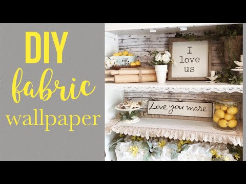 DIY FABRIC WALLPAPER   DECORATE WITH ME   SUMMER DECOR
