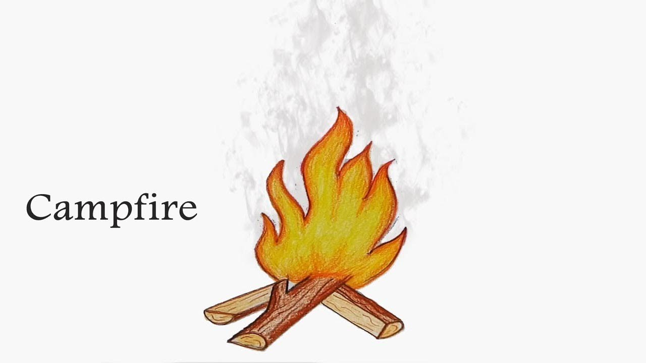 How To Draw Campfire Step By Very Easy