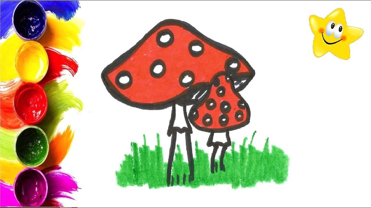 Рисунок, раскраска для детей ГРИБ МУХОМОР. Мультик ...