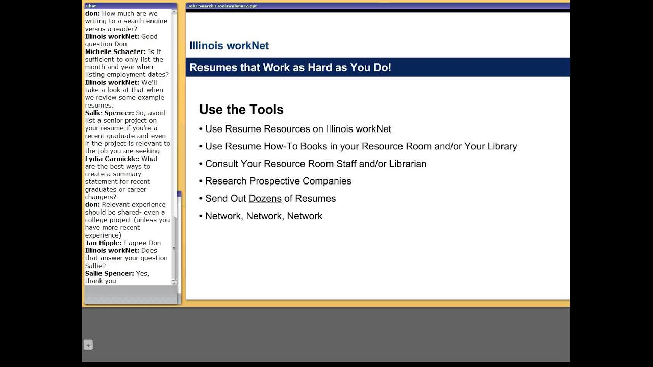 Job Search Tools Webinar Resume Writing Basics April 26 2011
