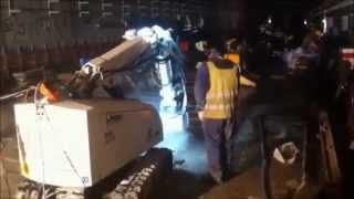 Video Demolition Robot working in subway