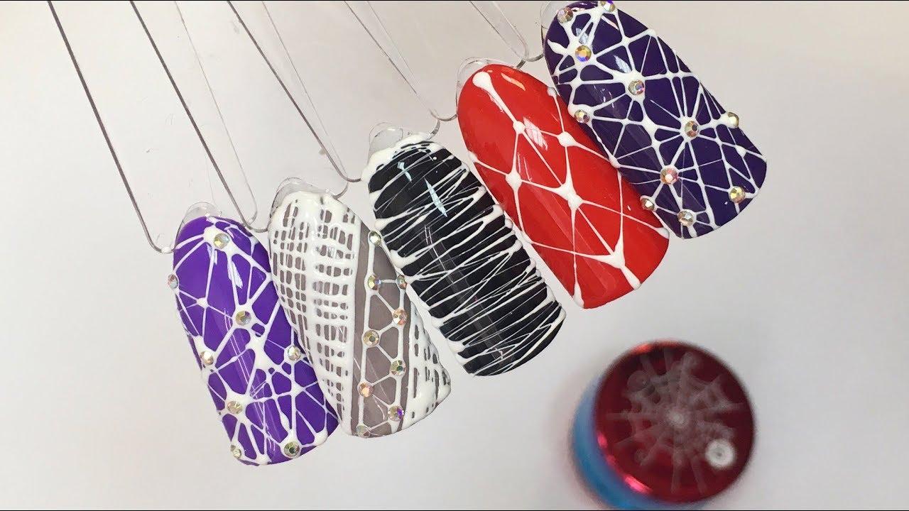 тенденция дизайна ногтей с паутинкой гелем