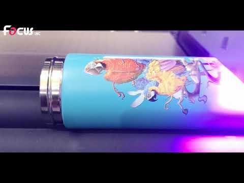Focus Inkjet Gama Jet 6040 Flatbed Uv Printer With 2 DX11 Printheads For Cylinder Cups Bottles