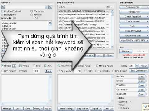 Hướng dẫn cách thu thập danh sách web , blog để Spam comment