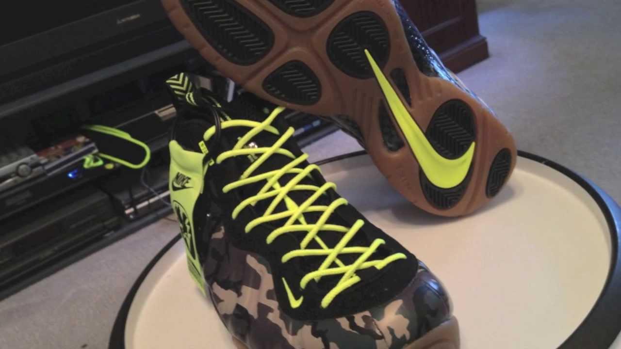 big sale ed501 3e67e @Nike Air Foamposite Pro Premium LE - w/ volt lace swap - Camo - Green /  Forest / Black