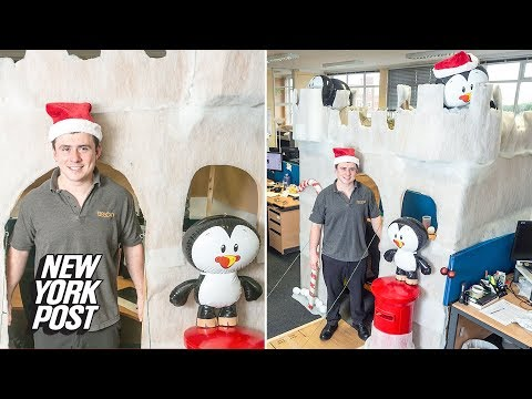 Christmas office cubicle: Engineer builds snow-covered castle around workspace | New York Post