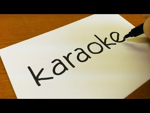 How to turn words KARAOKE(Carpool Karaoke)into a Cartoon  -  Drawing doodle art on paper