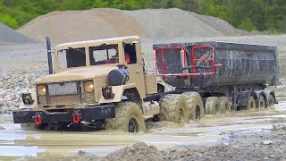 RC CONSTRUCTION VEHICLES IN MUD! RC TRUCKS STUCK IN MUD! FANTASTIC MUDDING DAY! COOL RC VEHICLES