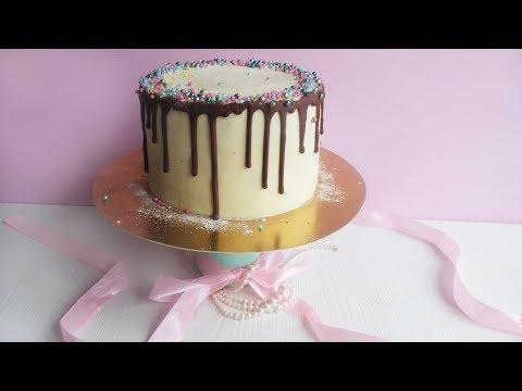 Cherry Cake With Sprinkles / Вишневый Торт с Маскарпоне рецепт и декор шоколадными потеками