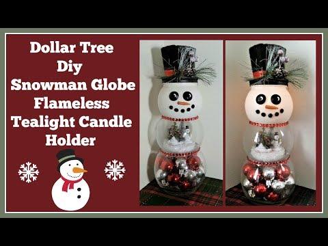 Dollar Tree Diy Snowman Globe Flameless Tealight Holder Easy and Fun to Make