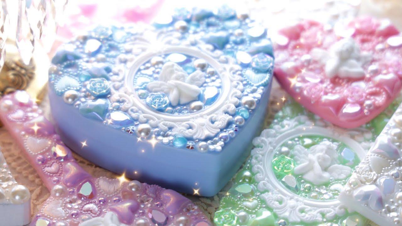 100均小物を可愛くリメイク|ロココ調フレームと天使|ジュエリーボックス・手鏡・スマホケース【レジン】DIY Cherub Jewelry Box|Resin