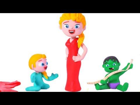 FROZEN ELSA NEW RED DRESS ❤ Spiderman, Hulk & Frozen Play Doh Cartoons For Kids