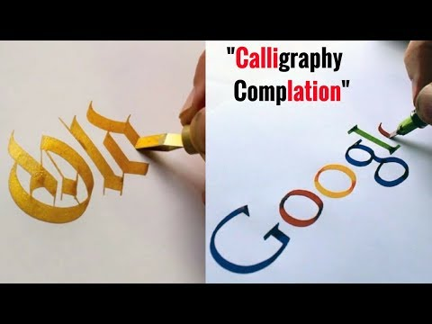 Super Satisfying Calligraphy   Calligraphy Video Complation   Drawn Famous Brand Names