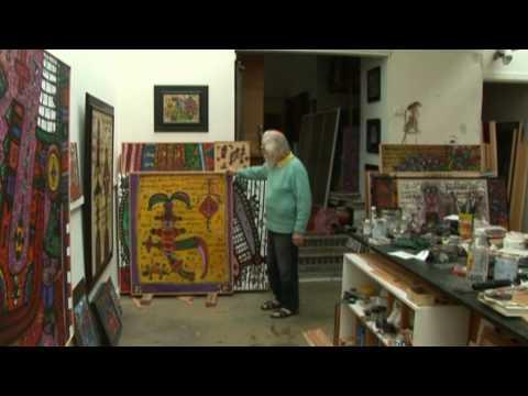 Alan Davie paints for a film