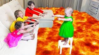 Five Kids The Floor is Lava Song Nursery Rhymes & Children's Songs