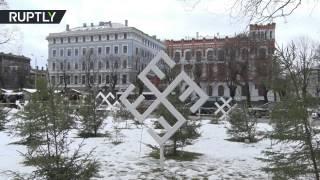 Swastika looking snowflakes pop up at Latvian Xmas market