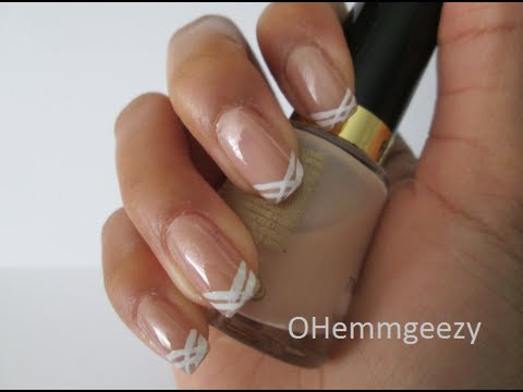 Criss Cross French Tip Nails Youtube
