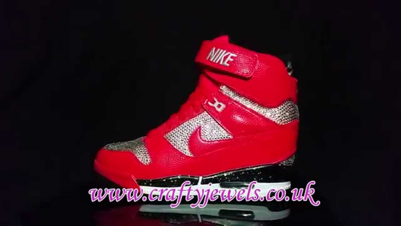 Swarovski Crystal Nike Air Revolution Sky Hi Wedge Sneaker - YouTube 28f11d682