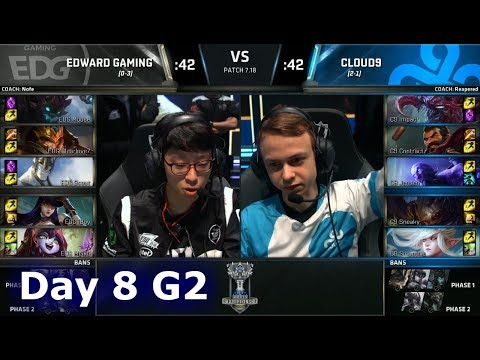 Edward Gaming vs Cloud 9 | Day 8 Main Group Stage S7 LoL Worlds 2017 | EDG vs C9 G2