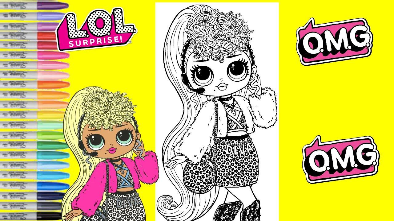 Lol Surprise Coloring Book Page Lady Diva Lol Surprise O M G