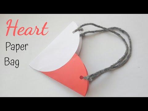 Easy Heart Paper Bag | Cute Paper Gift Basket | Easy Gift Bag Ideas Using Paper #giftbagdiy