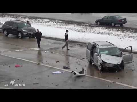 Fargo, ND - Multi Vehicle Accident on I-94 under 45th St, Slick Surfaces under Overpass - 04/02/2018