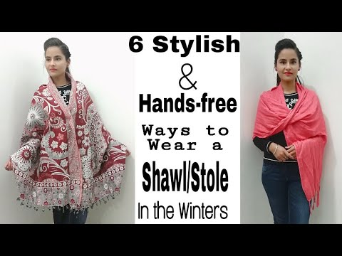 6 Different Handsfree Ways to Wear Shawl/Stole with Western