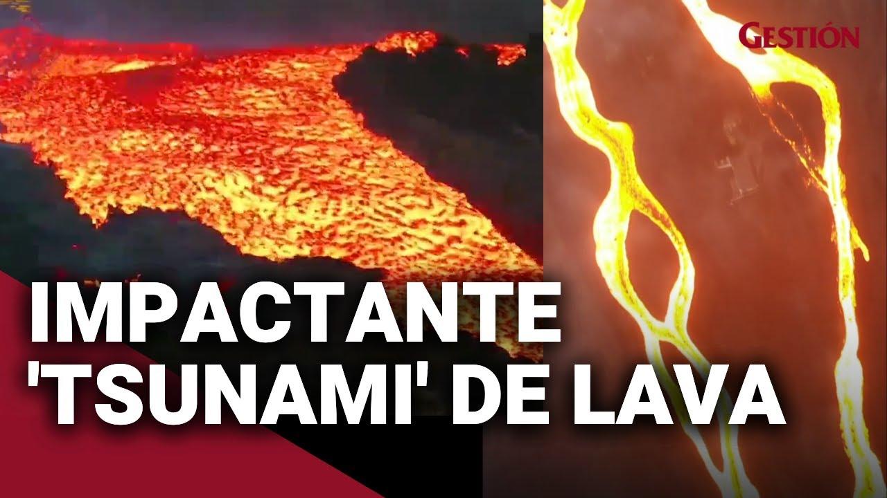 """Download Volcán La Palma: Así se ve el impactante """"tsunami"""" de LAVA que se desborda del volcán Cumbre Vieja"""