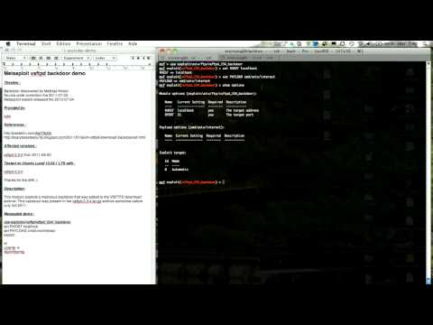 Metasploit vsftpd backdoor demo - YouTube