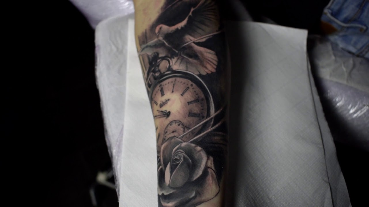 Tattoo Reloj Paloma Rosa Consiliumtattoo Youtube