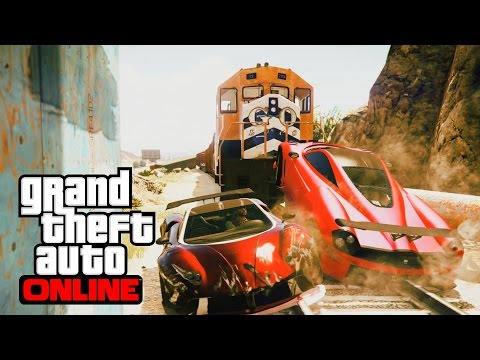 BEAT THE TRAIN!!! INSANE TWO WAY MADNESS   GTA 5 Races Online