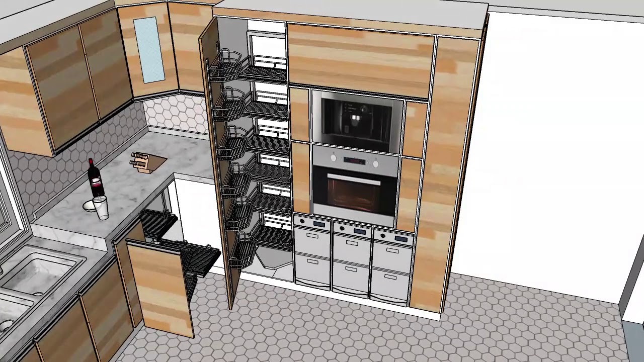 تصميم مطبخ 3d اسكتش اب Youtube