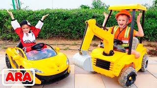 فلاد ونيكي يتظاهران باللعب وركوب سيارات لعبة